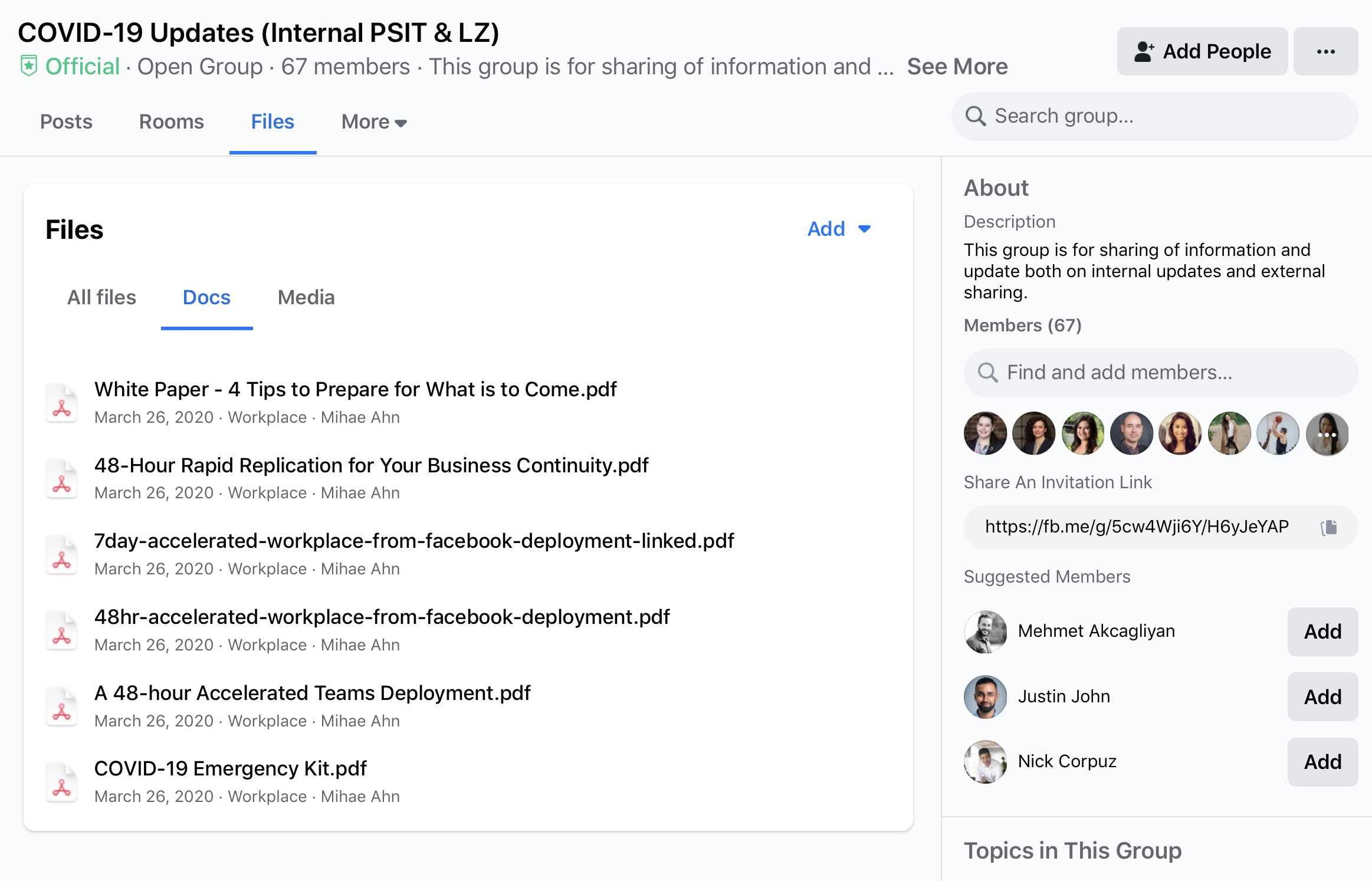 share documents on Workplace from Facebook
